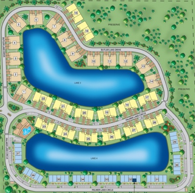 Livingston Lakes site plan of condos and coach homes