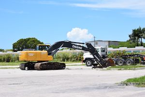 Heavy equipment is arriving ready to start construction at Naples Square.